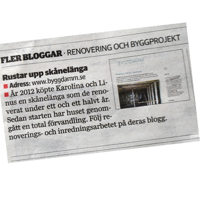 tidning byggdamm
